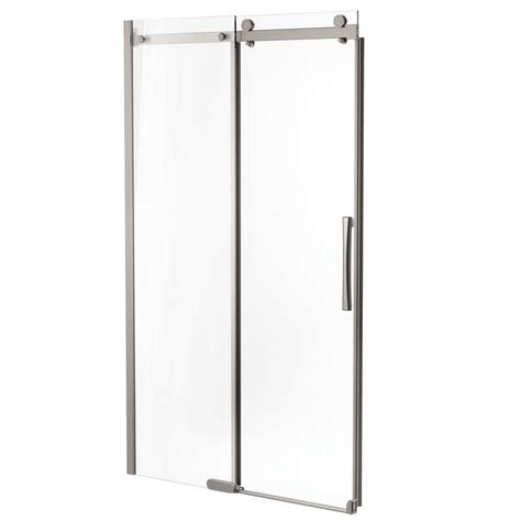 delta 48 in x 72 in semi framed sliding shower door in stainless b912912 4836 ss the home depot Delta Shower Door