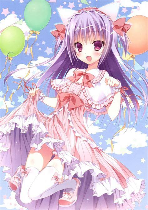 anime neko anime art neko cat girl cat ears pretty dress