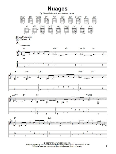 My Serenade By Django Reinhardt Guitar Tab Guitar Instructor nuages sheet direct
