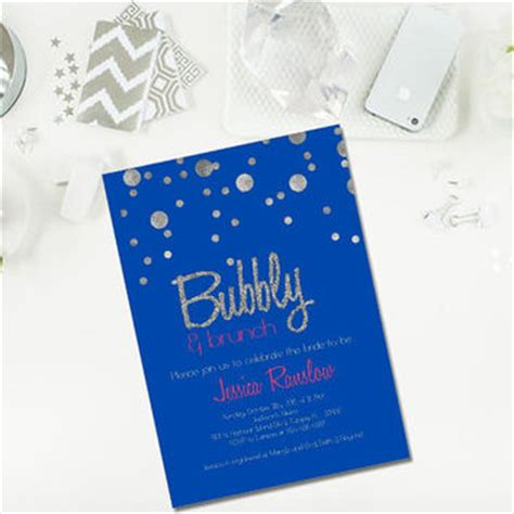 blue and silver bridal shower invitations chagne brunch bridal shower from glassslipperdesigns on