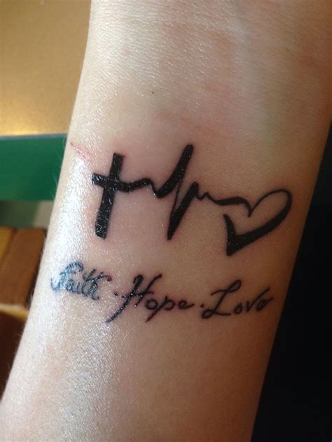 hope faith and love tattoo design wrist faith