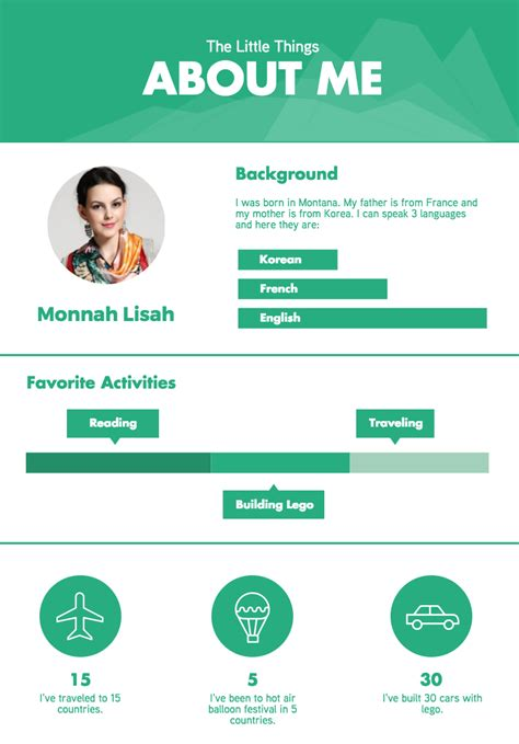 about me travel and storyboard infographics templates