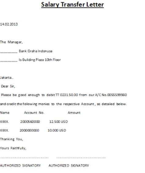 Money Transfer Request Letter Bank Salary Transfer Letter
