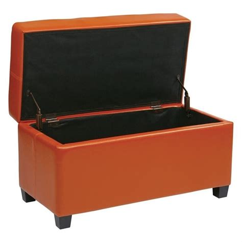 Orange Storage Ottoman Vinyl Storage Ottoman In Orange Met804v Pb18