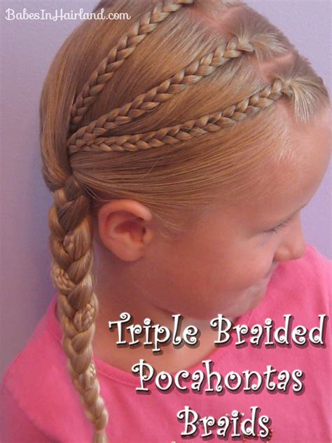 easy triple braided hairstyle babes in hairland triple braided pocahontas braids circus tickets babes