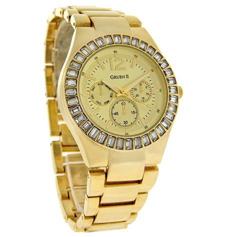 gruen gold tone band and with bezel