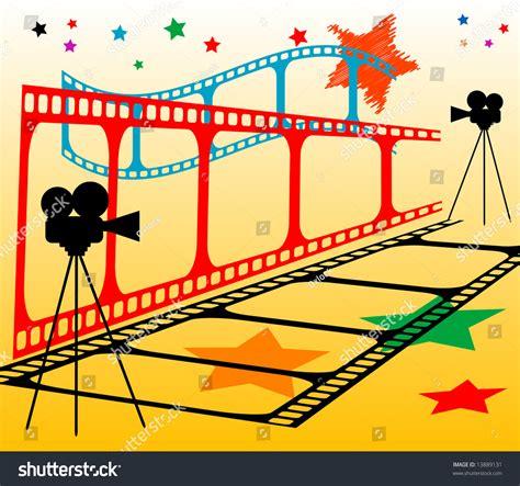 retro film strips cinema equipment backgrounds presnetation ppt background colored film strip movie camera stock vector