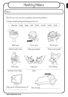 Third Grade Health Worksheets by Healthy Habits Grade 1 Worksheet Earth Day