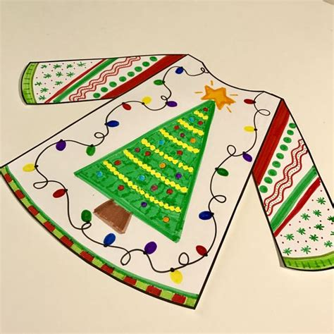 ugly christmas sweater writing craftivity inference activity