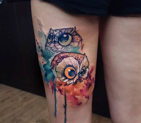 owl watercolor tattoo watercolor owls by uncl paul knows tattooblend animal