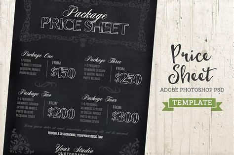Chalkboard Price List Sheet Template Templates Creative Market Photography Price Sheet Template