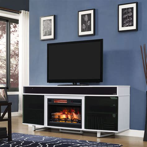 enterprise electric fireplace entertainment center in white