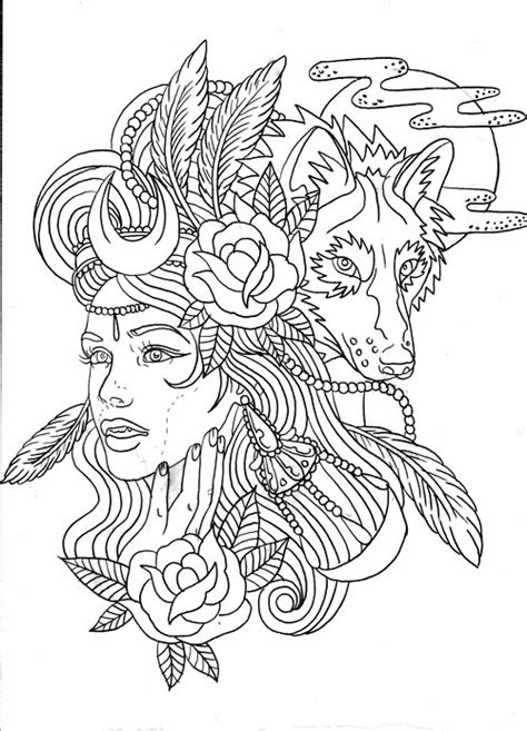 coloring page of indian headdress wolf indian headdress coloring pages