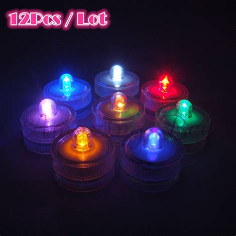 12pcs waterproof underwater led candle submersible light