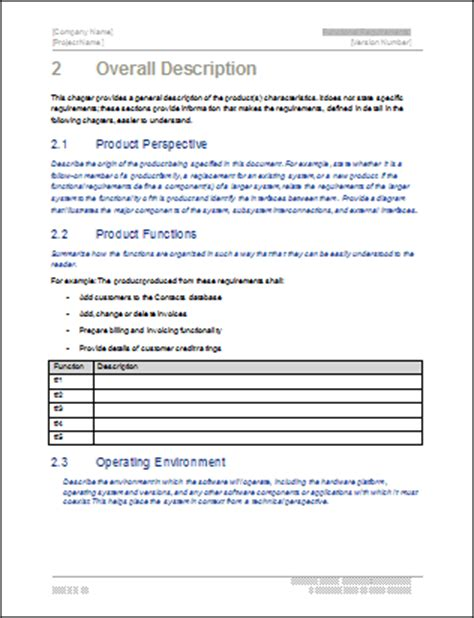 functional description template functional requirements specification ms word excel