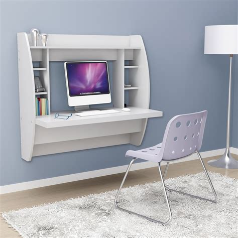 Desk Storage White Floating Desk With Storage