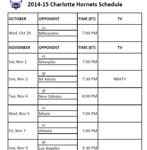 printable hornets schedule print charlotte hornets printable schedule 2014 15
