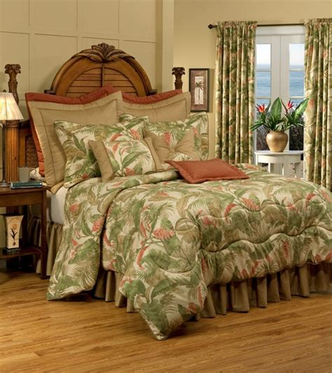 tropical bedding king 4pc tranquil green gold ivory tropical plant 100 cotton