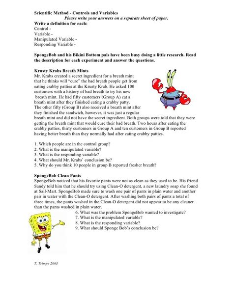 Controls And Variables Worksheet Answers by Scientific Method Controls And Variables Write Your Answers On A Separate Sheet Of
