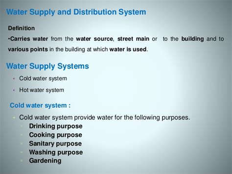 Plumbing System Definition by Cold Water Supply System Components