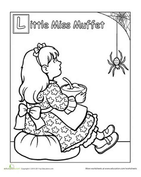 little miss muffet coloring page little miss coloring