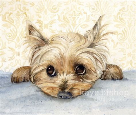 yorkie painting yorkie watercolor painting animal yorkie painting