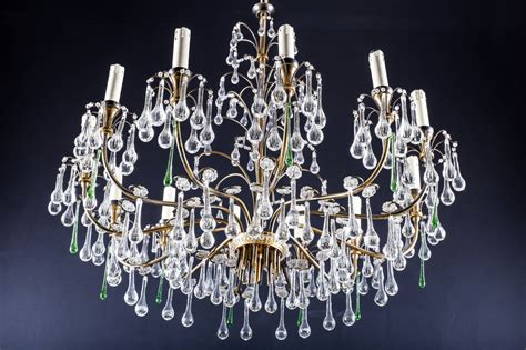 Glass Chandelier Drops A Magnificent Vintage Brass Twelve Light Chandelier With Murano Glass Tear Drops For Sale At 1stdibs