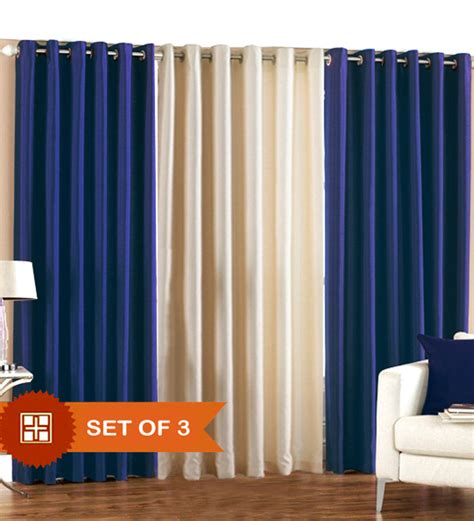blue and cream curtains pindia royal blue n cream door curtains set of 3 pcs 7