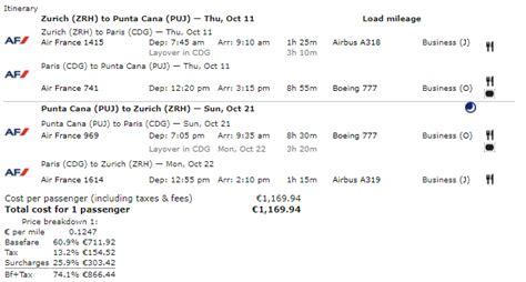 airfare   day air franceklm business class zurich zrh switzerland  punta cana puj