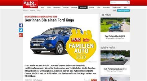 Auto Motor Sport Adventskalender by Auto Gewinnspiel Auto Motor Sport Ford Kuga Familienautos 2018