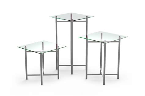 buffet table stainless steel legs clear glass top