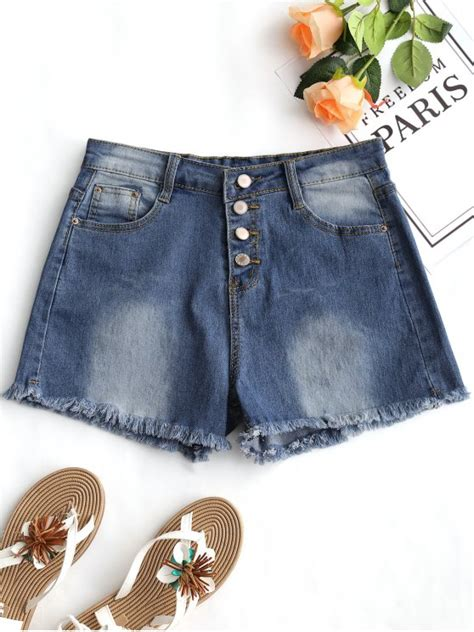 Frayed High Waist Denim Shorts 50 2018 high waist frayed hem denim shorts in denim