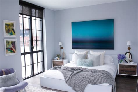 White Wall Room With Glass Windows And Blue Blinds by Living Room Grey And White Wall Painting