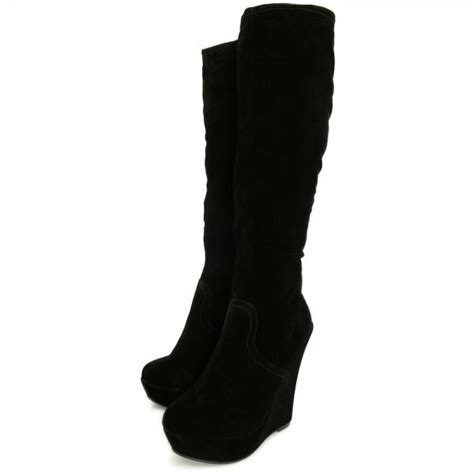 black suede knee high boots with heel womens black suede style stretch wedge heel platform knee