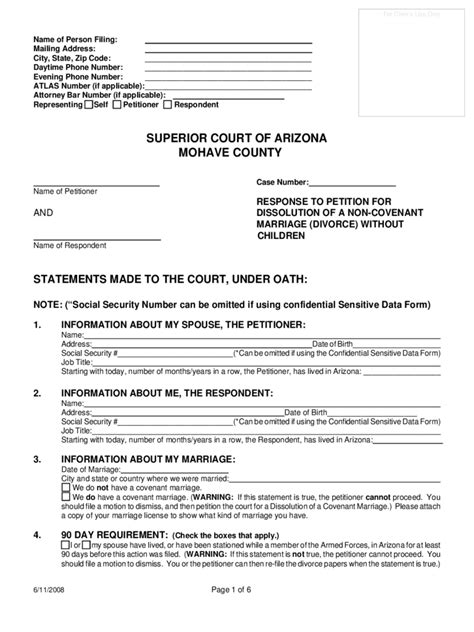 Free forms divorce arizona