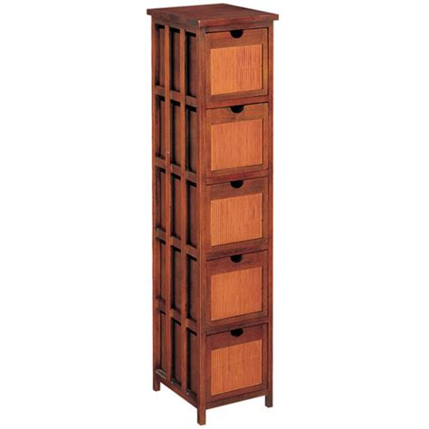 5 Drawer Wicker Storage by Hazelnut Rattan Five Drawer Storage Rack In Media