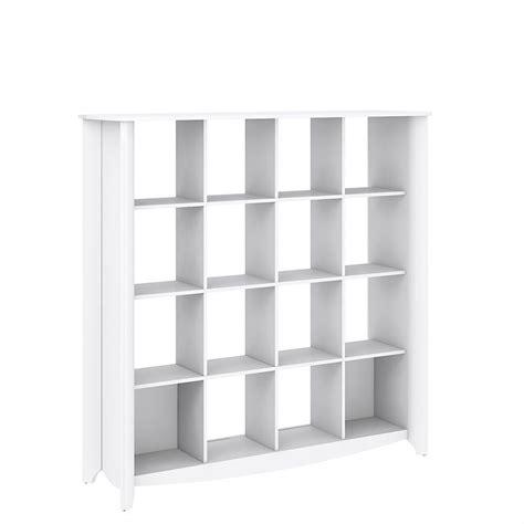 16 Cube Bookcase White Bush Furniture Aero 16 Cube Bookcase Room Divider In Pure