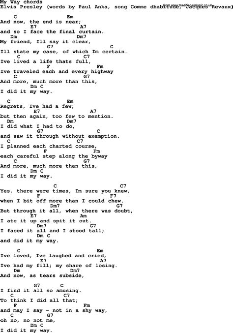 song lyrics with guitar chords for my way elvis