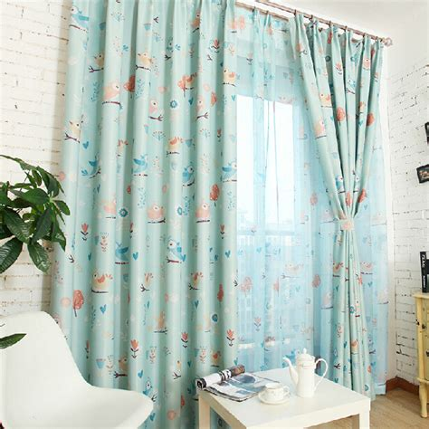 blue bird curtains delicate baby blue bird polyester cotton nursery curtains