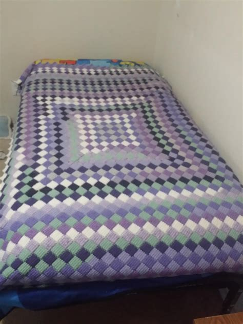 Benang Rajut Caron Cakes Bumbleberry finished entrelac bedspread this was worked with caron