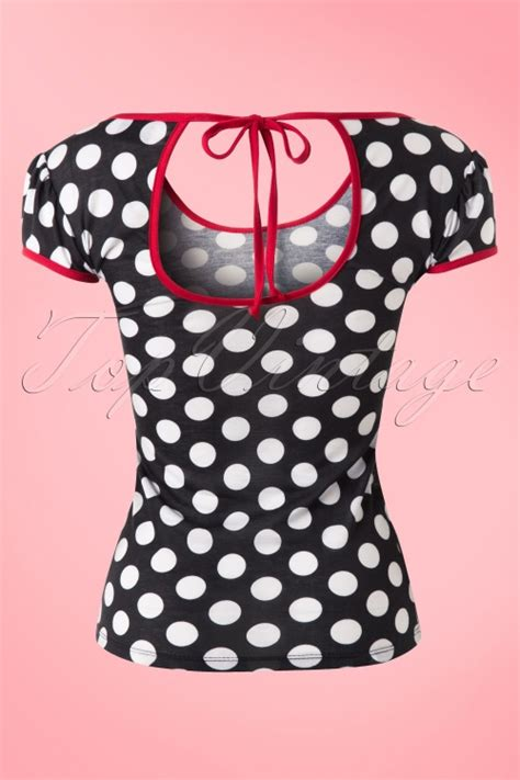 Baju Retro Polkadot 50s robyn polkadot top in black and white