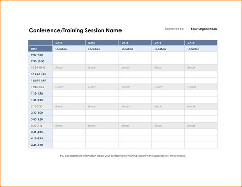 conference schedule template conference schedule template authorization letter pdf