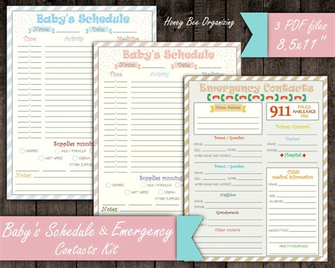 printable daily schedule babysitter baby s schedule kit emergency contacts list baby daily