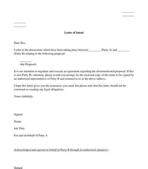 letter intent sample template word