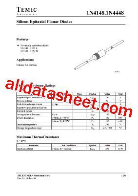 4148 diode pdf 1n4148 datasheet pdf temic semiconductors