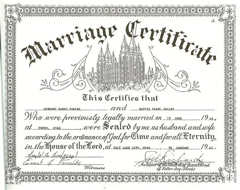 blank wedding certificate