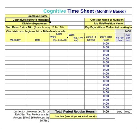 25 Excel Timesheet Templates Free Sle Exle Format Download Free Premium Templates Time Card Template Excel
