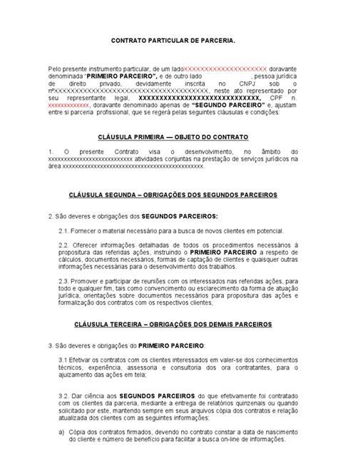 modelo contrato parceria   Lei das Obrigações   Conceitos