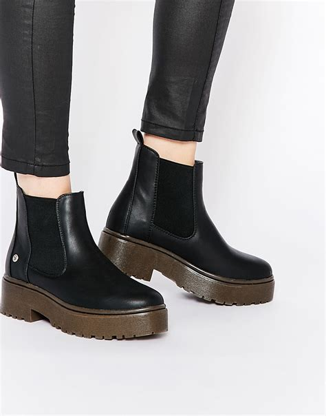 blink black chunky gum sole chelsea boots in black lyst