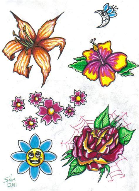 Flower Flash By Jspahn On Deviantart Flower Tattoos Flash Designs